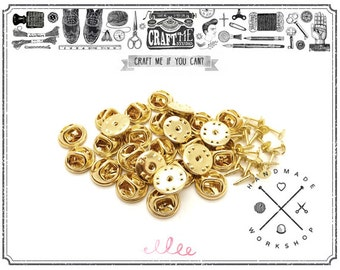 25PCS Gold TIE TACKS Blank Pins with Clutch Back Lapel FINDING / Scatter Pin