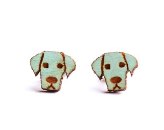 Dog Stud Earrings, Wood Earrings, Tiny Stud Earrings, Puppy Earrings, Surgical Steel Earrings, Jade Greyed Earring Studs,