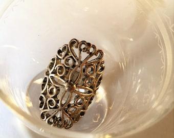 Very ornate open work edwardian style silver ring, edwardian jewels, downton abbey jewels