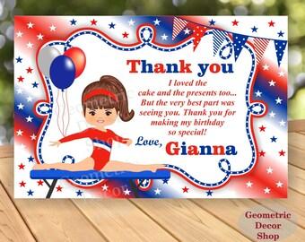 Thank you card Birthday Party cards Gymnastic Digital Girl Red Blue Gymnastics Party Printable THG3