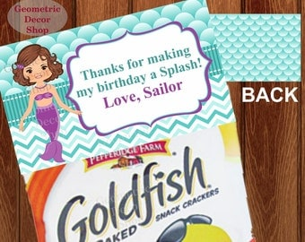 Goldfish Thank you cards Favor tags digital gift Purple Decoration birthday printable DIY Mermaid Thank you card tag Pool party #TBMER4