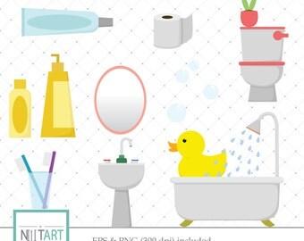 Bathroom clipart, restroom clipart, toilet clipart, Vector graphics, Digital Images