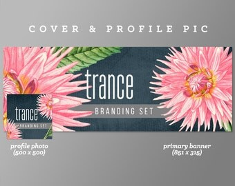 Timeline Cover + Profile Picture 'Trance' Cover, Profile Picture, Branding, Web Banner, Blog Header | floral, pink, grey blue, shrub, hot