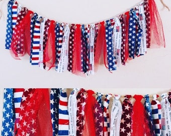 """Handmade Red White & Blue """"STARS AND STRIPES"""" Tassel Garland for July 4th/Independence Day, Outdoor Bbq decoration, Front Door Decor"""