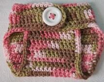 Newborn Crochet Diaper Cover - Girl Diaper Cover - Baby Girl Camo Cover -Crochet Nappy Cover - Crochet Baby Soaker- Crochet Baby Shower Gift