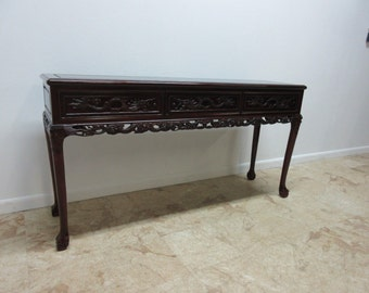 Vintage Solid Mahogany Carved Asian Chinoserie Sofa Hall Foyer Table Server