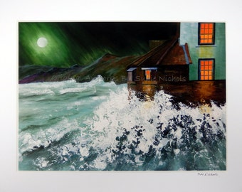 Crashing Waves Giclee Print- A4 Quality Mounted Giclee Print of Crashing Waves at Robin Hood's Bay, Yorkshire (beach sea night seaside moon)