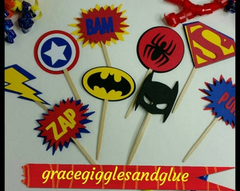 12 Superhero themed Cupcake  Toppers