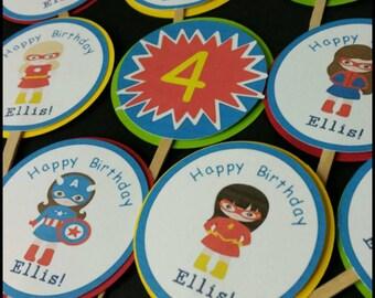 12 Girl Superhero themed Cupcake  Toppers, Girl Avengers Cupcake Toppers
