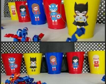 10 Girl Superhero Favor Pails, Avengers Favors, Marvel Superhero  Favors
