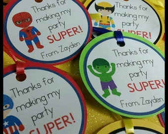 12 Superhero Favor Tags w/ cello Bags, Avengers Favors, Marvel Superhero  Favors