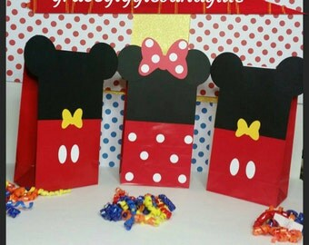 10 Mickey and Minnie Mouse Bags, Party Bags, Favor Bags