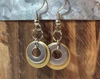Brass Silver Washer Dangle Earrings Boho Chic Jewelry