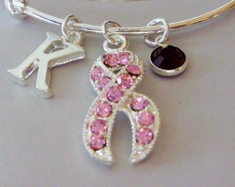 Awareness Pink Crystal Ribbon Bangle W/ Birthstone / Initial Bangle Breast Cancer Bracelet / Personalize Bangle - / Gift USA C1