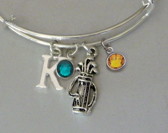 GOLF Bag Bangle Bracelet  W/ A Birthstone - Initial  Under Twenty / Sports Team Gift  For Her USA  G1