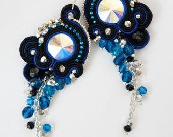 soutache swarovski crystal earrings