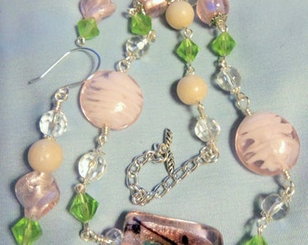Pink and Opal Lampwork Jewelry, Necklace and Earrings, Opal Gemstones, Lampwork jewelry