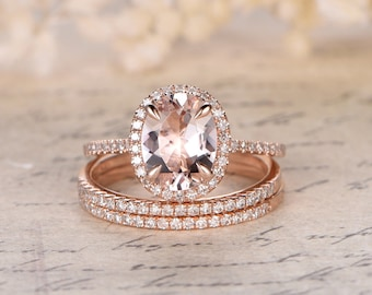 51193f428bf8fb Rose Gold Pink Morganite Engagement Ring Set,Thin Diamond Wedding Band,6x8mm  Oval Cut