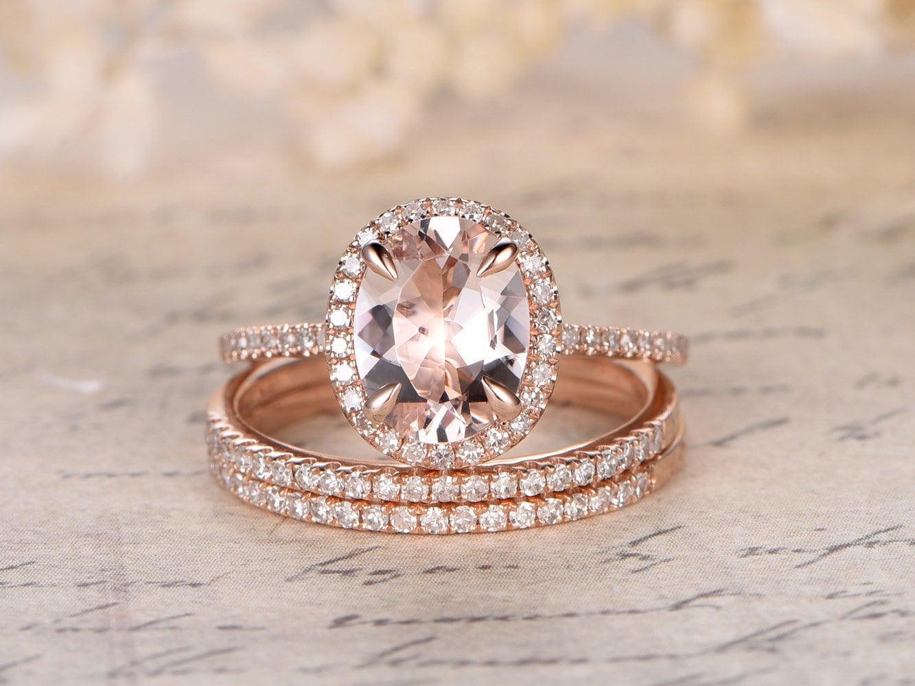 valentines present 6x8mm oval cut morganite ringpink morganite engagement ring setthin diamond - Diamond Wedding Rings Sets