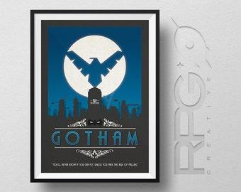 Nightwing Origin Print : Gotham City - DC Comics