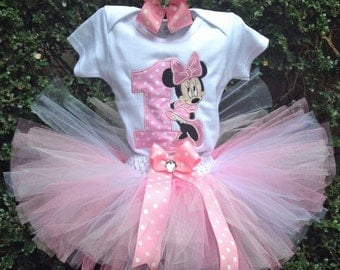 Pink Minnie Mouse 1st Birthday Outfit Shirt or Onesie Tutu and FREE Hair Bow Satin High Heels