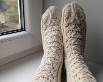 Woolen socks for women Warm feet Hand knitted socks Natural wool leg warmers Cozy homewear Gifts for her