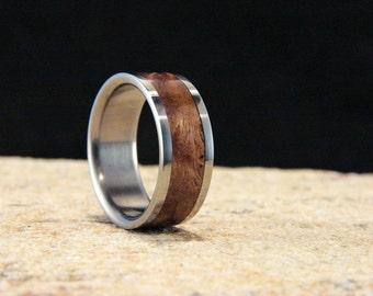 Asian Satinwood Burl and Titanium wood inlay ring, Burl inlay ring, wedding ring, metal and wood ring, burl wood inlay ring, rare wood inlay