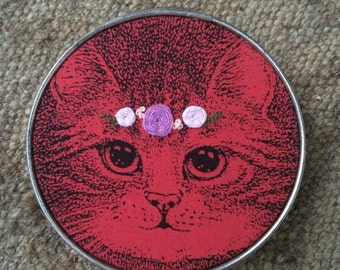 Embroidered cat hoop