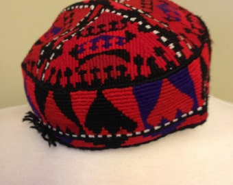 Vintage Hat-Afghanistan Hazara Tribe Hat-Handmade red Hat-