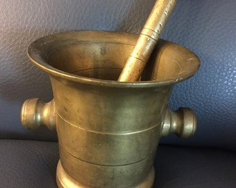 Antique Solid Brass Apothecary Mortar and Pestle - Heavy