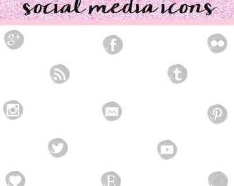 Grey-Silver Social Media Icons, Social Media Icons, Social Media Icons Set, Modern Social Media Icons.