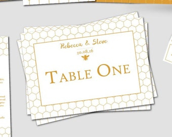 10 Personalised Honey Bee themed Wedding Table Name Signs