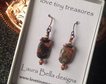 Copper Gemstone Earrings