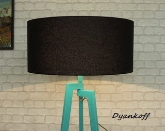 Handmade Tripod Floor lamp with unique wooden stand colored in mint and drum lampshade,different colors lampshade,model Zornitsa Fresh Mint