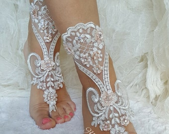 Ivory Silver Lace Barefoot Beach wedding barefoot sandals Ivory Lace Anklet Flower lace barefoot lace barefoot sandals france lace barefoot