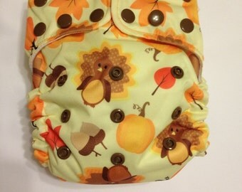 One size pocket cloth diaper, Thanksgiving
