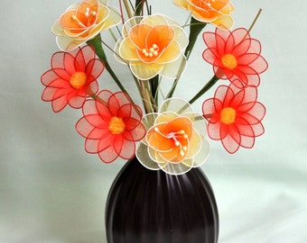 carnations daisy flower vase,yellow carnation orange daisy bouquet,handmade nylon flowers,nylon flowers,unique gift idea