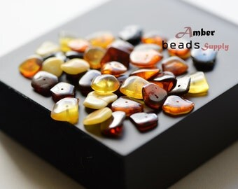 Multicolor amber beads. Chips amber style beads. Baltic amber. Mix color of beads. 40 Pieces for jewelry making. Natural drilled. #2422