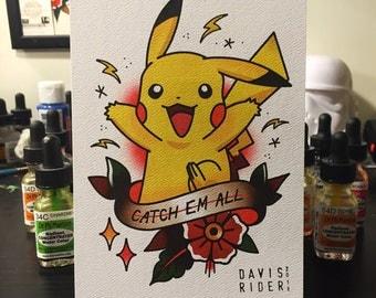 Pikachu Tattoo Flash Print