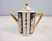 Vintage Miniature Porcelain Teapot - Black Vertical Stripes with Floral and Gold Accents