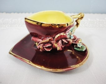 Vintage Maroon Heart Shaped 3-D Rose Demitasse/Mini Cup and Saucer
