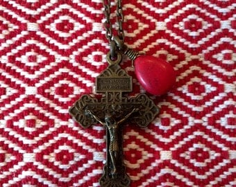 Antique italian cross necklace