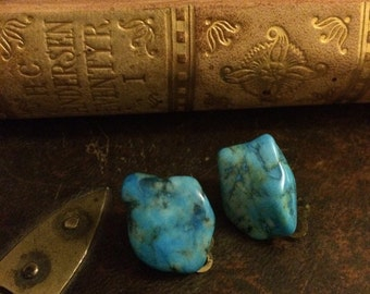 Vintage Turquoise clip on earrings from the 1970s