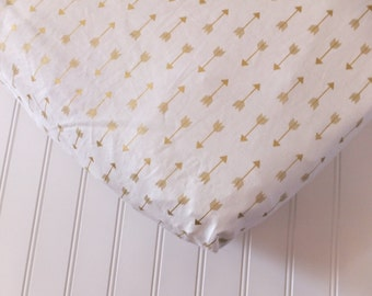 Gold Arrow Fitted Crib Sheet, Baby Bedding, Fitted Crib Sheet