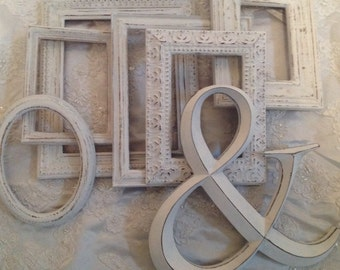 Shabby Chic Frames and Ampersand Set White Wooden Vintage Ornate Frames French Country Cottage Decor
