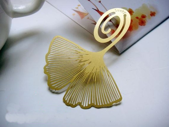 Bookmark ginkgo leaf metal gift souvenir book reading G8S6
