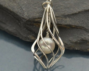 Pearl Sterling Silver Teardrop Lantern Cage with Shell Pearl Pendant Charm Necklace Beach Nautical Necklace