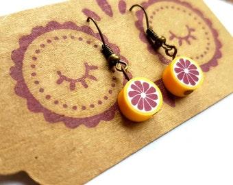 Fruit earrings - Blood orange earrings - Retro earrings- Funky earrings - hook earrings