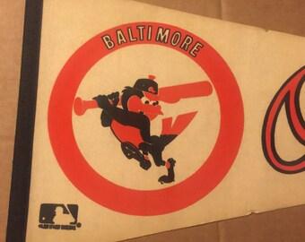"Vintage Baltimore Orioles Baseball Pennant - Full Size 30"""