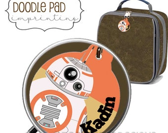 Personalized BB8 Star Wars Lunch box ID Tag, Zipper Pull